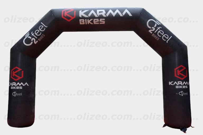 arche publicitaire karma bike 4x3 m pour départ de course vtt