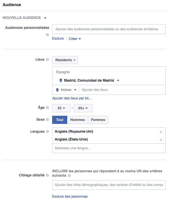 ciblage d'audience facebook