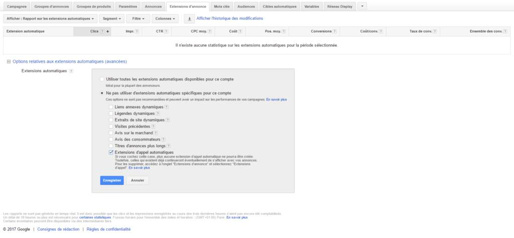 Rapport d'extension automatique adwords