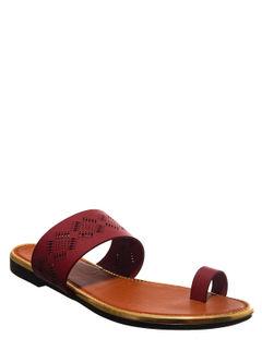 Khadim's Maroon Casual Flat Sandal