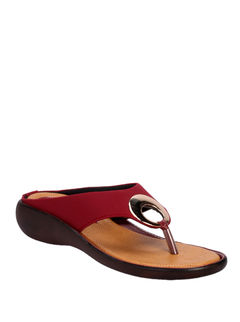 Khadim's Maroon Casual Slip-On Sandal