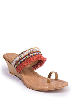 Khadim's Women Orange Ethnic Heel Sandal