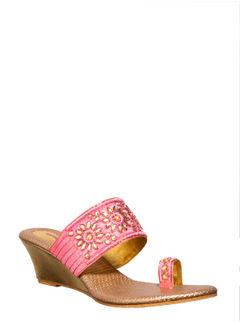Khadim's Pink Ethnic Heel Sandal