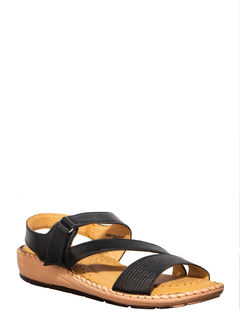 Softouch Black Casual Strap-On Sandal