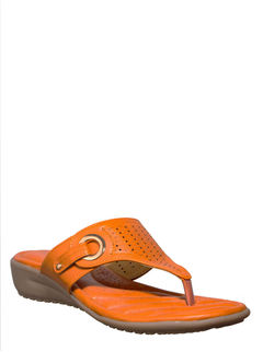 Softouch Orange Casual Slip-On Sandal