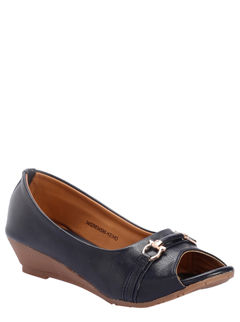 Cleo Navy Casual Ballerina Shoe