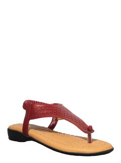 Softouch Maroon Casual Flat Sandal