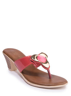 Khadim's Cleo Women Red Casual Heel Sandal
