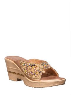 Khadim's Rose Gold Ethnic Mule Sandal