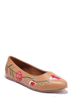 Cleo Tan Casual Ballerina Shoe