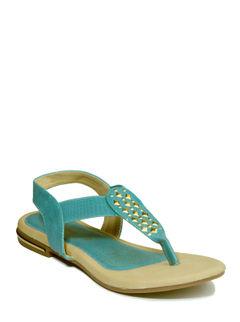 Adrianna Turquoise Casual Flat Sandal