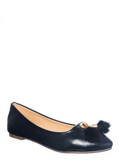 Cleo Black Casual Ballerina Shoe