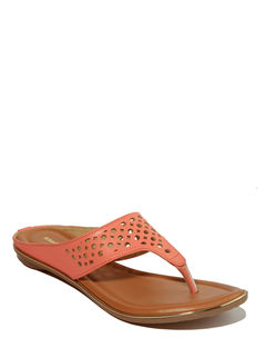 Khadim's Peach Casual Flat Sandal