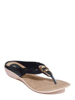Khadim's Black Casual Heel Sandal