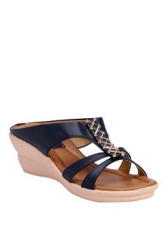 Cleo Navy Casual Heel Sandal