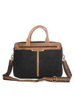 Khadim's Black Laptop Crossbody Bag