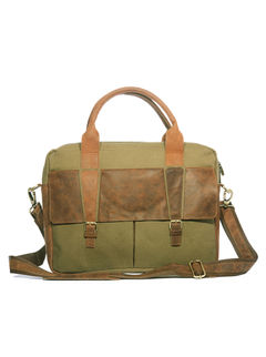Khadim's Olive Laptop Crossbody Bag