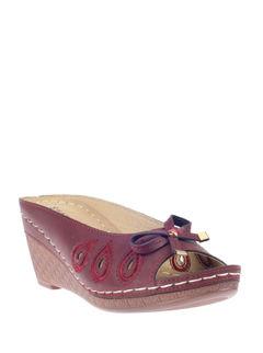 Sharon Maroon Casual Mule Sandal
