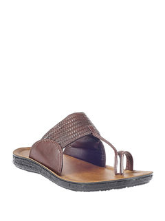 Khadim's Brown Ethnic Slip-On Sandal