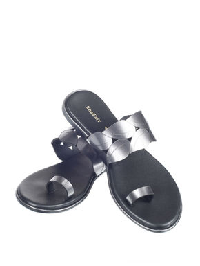Khadim's Women Silver Casual Slip-On Sandal