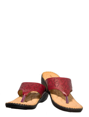 Softouch Maroon Casual Slip-On Sandal