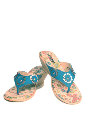 Adrianna Blue Casual Heel Sandal