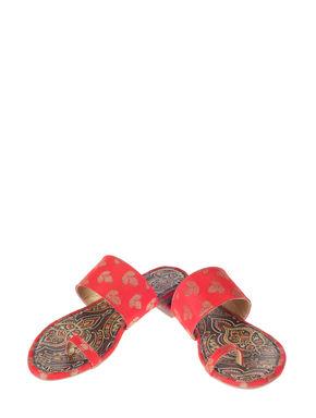 Cleo Red Ethnic Flat Sandal