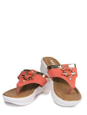 Adrianna Peach Casual Heel Sandal