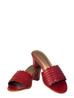 Sharon Women Maroon Casual Heel Sandal