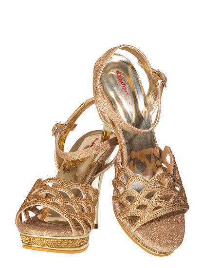 Khadim's Women Gold Lifestyle Heel Sandal
