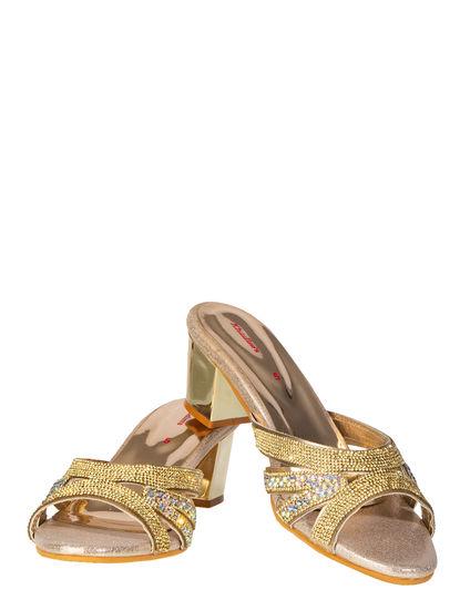 Khadim's Women Gold Ethnic Heel Sandal