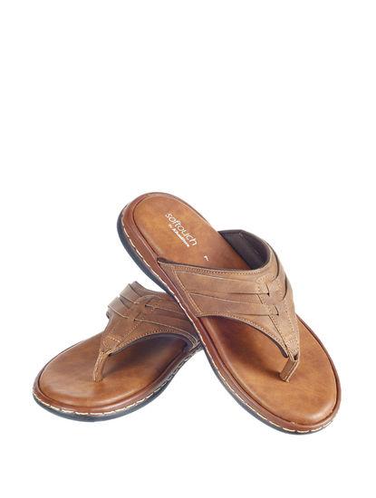 Softouch Men Tan Casual Slip-On Sandal