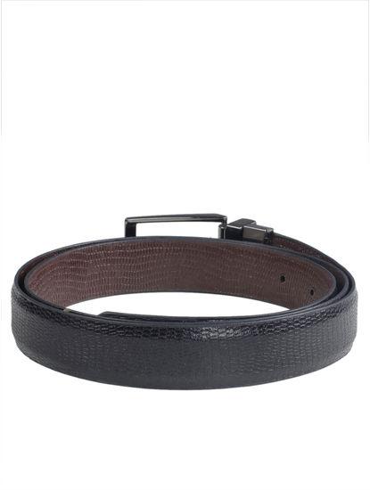 Khadim's Men Black Leather Belt (Reversible & Resizable)