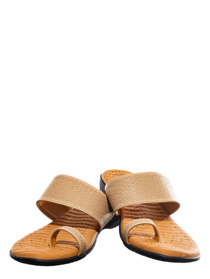 Softouch Beige Casual Flat Sandal