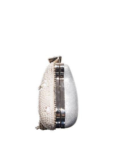 Khadim's White Minaudiere Clutch Bag