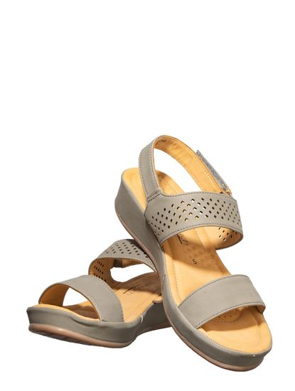 Softouch Grey Casual Strap-On Sandal