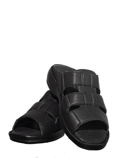 Softouch Men Black Casual Mule Sandal