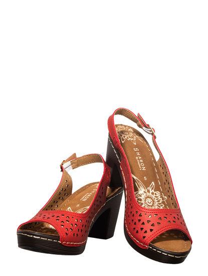 Sharon Cherry Casual Heel Sandal