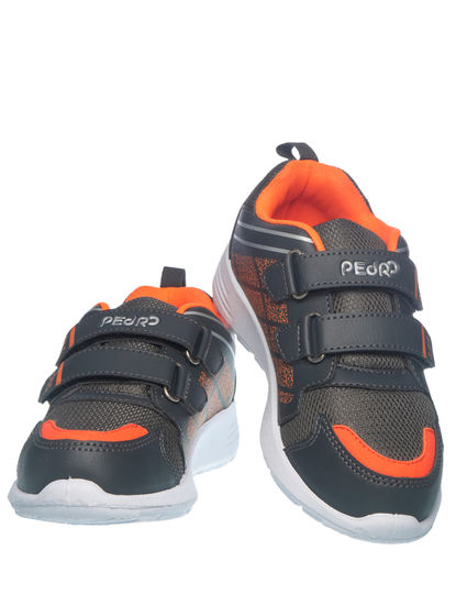 Khadim's Pedro Boys Grey Strap-On Sneakers