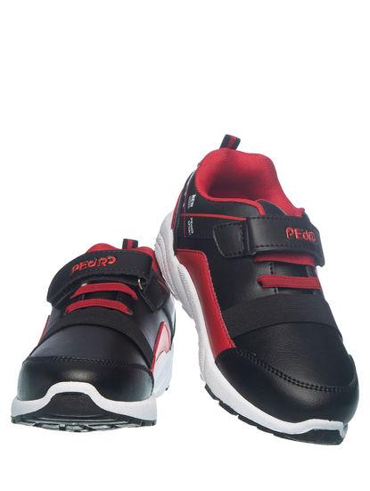 Khadim's Pedro Boys Black Strap-On Sneakers
