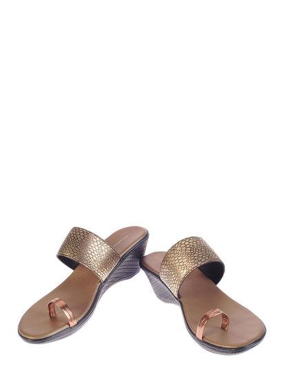 Khadim's Women Gold Casual Heel Sandal