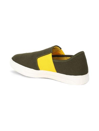 Khadim's Lazard Men Olive Casual Canvas Shoe