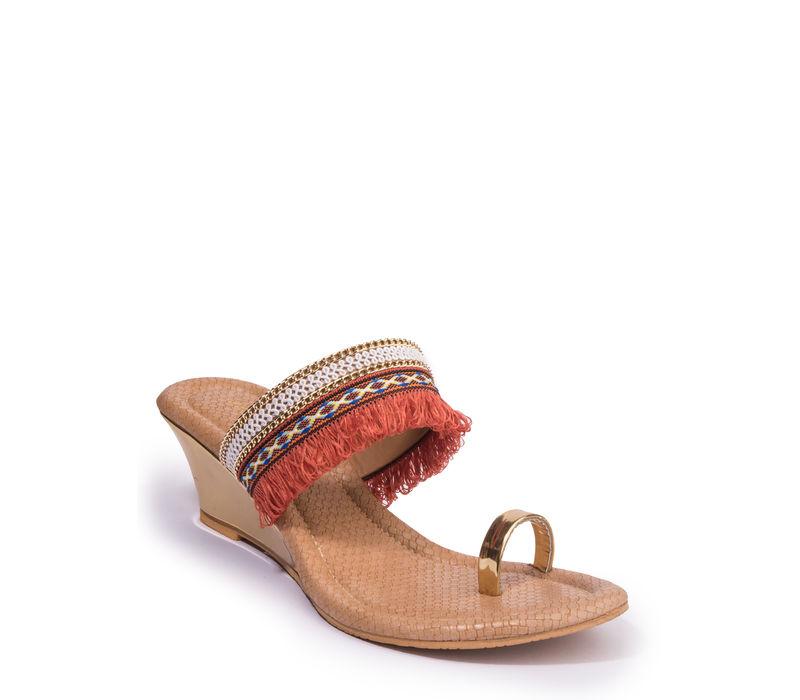 Khadim's Women Orange Ethnic Heel Sandal