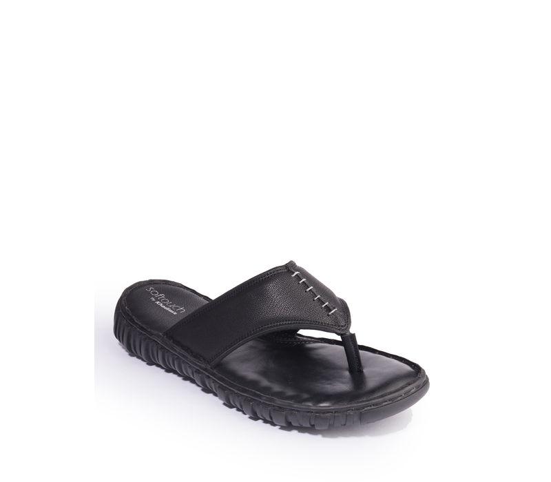 Khadim's Softouch Men Black Casual Slip-On Sandal