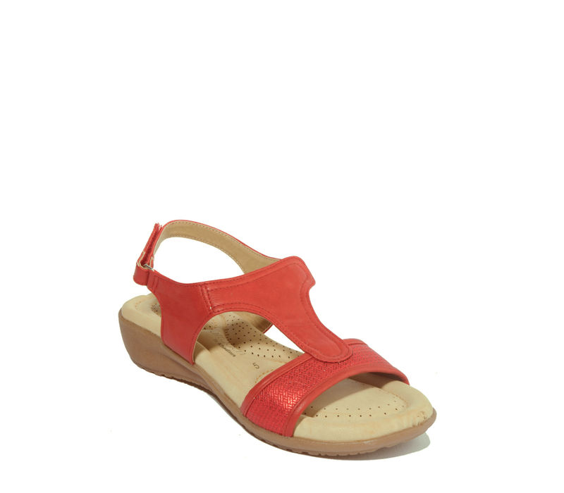 Softouch Red Casual Heel Sandal
