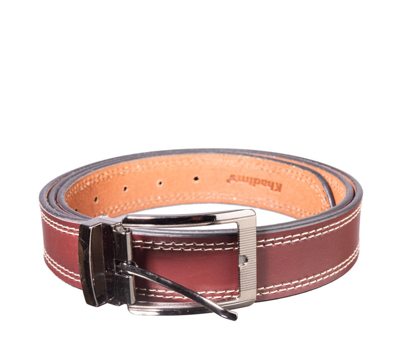 Khadim's Maroon Casual Leather Belt