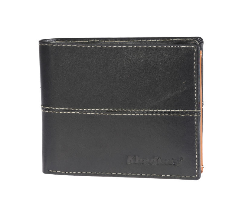 Khadim's Black Tri-fold Wallet