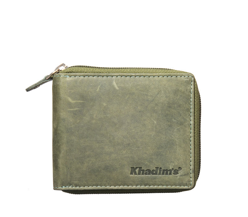Khadim's Men Olive Zip Around Wallet