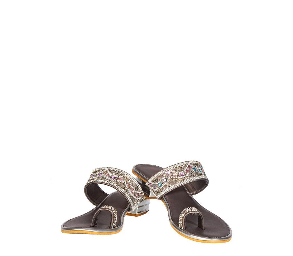 Khadim's Women Silver Ethnic Slip-On Sandal