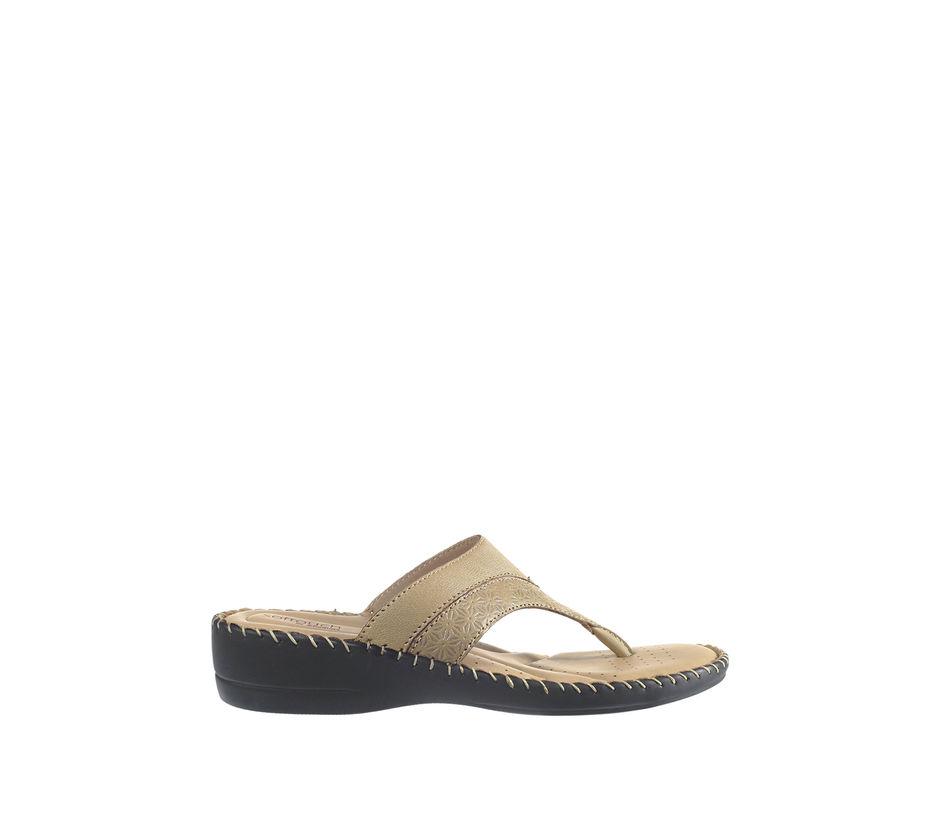 Softouch Women Beige Casual Slip-On Sandal